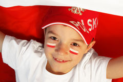 Polish boy sports fan Royalty Free Stock Photography