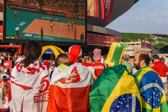 Polish and Brazilian fans Stock Image
