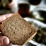 Polish bread for breakfast. Artistic look in vintage vivid colours. Royalty Free Stock Images