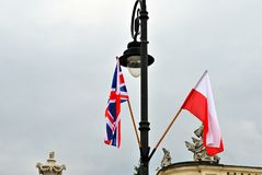 Polish-British flags Stock Photos