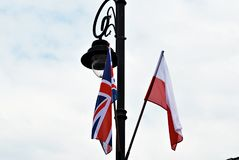 Polish-British flags Stock Photography