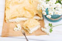 Polish cake with creme, called Karpatka Stock Photography