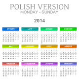 2014 Polish calendar. Colorful monday to sunday 2014 calendar polish version illustration Stock Photo