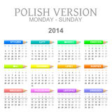 2014 Polish calendar with crayons Royalty Free Stock Image