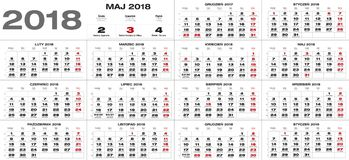Polish calendar for 2018 Royalty Free Stock Images