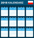 Polish Calendar for 2018. Scheduler, agenda or diary template. Week starts on Monday Stock Images