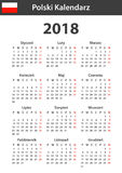 Polish Calendar for 2018. Scheduler, agenda or diary template. Week starts on Monday Royalty Free Stock Image