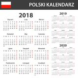 Polish Calendar for 2018, 2019 and 2020. Scheduler, agenda or diary template. Week starts on Monday Royalty Free Stock Photography
