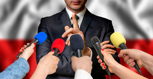 Polish candidate speaks to reporters - journalism concept Royalty Free Stock Photography