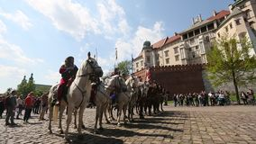 Polish cavalry during annual of Polish national and public holiday the May 3rd Constitution Day. stock footage
