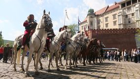 Polish cavalry during annual of Polish national and public holiday the May 3rd Constitution Day. stock video footage
