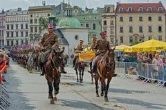 Polish Cavalry Celebration, Krakow, Poland. stock photos