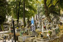 Polish cemetery Jesus with the cross Stock Photography