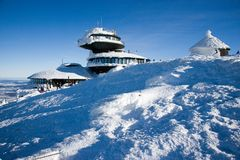 Polish chalet on Snezka peak. Snowy winter countryside, Snezka m. CZECH REPUBLIC; SNEZKA - JAN 11, 2016: Polish chalet on Snezka peak. Snowy winter countryside Royalty Free Stock Photo