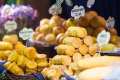 Polish cheese on a market stand Stock Photo