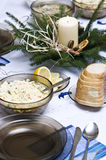 Polish Christmas table. A table set with some typically Polish dishes. All vegetarian foods. A decorative seasonal composition with a candle Stock Images