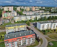 Polish city, block flat houses, high density, trees, aerial view.  royalty free stock images
