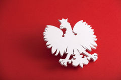 Polish coat of arms. On red background Stock Photography
