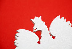 Polish coat of arms on red background Stock Images