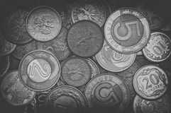 Polish coins in black and white Royalty Free Stock Photo