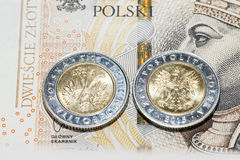 Polish coins close up Stock Photography