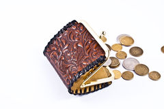 Polish coins outside from small wallet. Stock Image