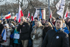Polish Committee for the Defence of Democracy demonstration in W. WARSAW, POLAND - JANUARY 23, 2015: Mateusz Kijowski leader of Committee for the Defence of Royalty Free Stock Photography
