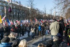 Polish Committee for the Defence of Democracy demonstration in W. WARSAW, POLAND - JANUARY 23, 2015: Supporters of democracy during a march organized by the royalty free stock photos