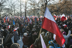 Polish Committee for the Defence of Democracy demonstration in W Royalty Free Stock Photo