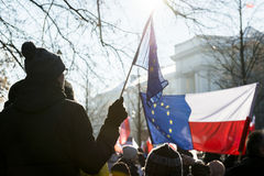 Polish Committee for the Defence of Democracy demonstration in W Royalty Free Stock Image