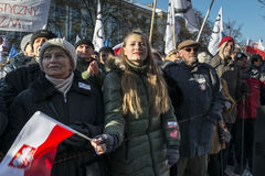 Polish Committee for the Defence of Democracy demonstration in W Stock Image