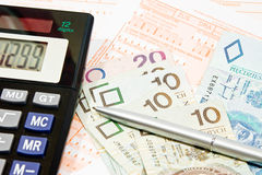 Polish contribution PIT. Calculating taxes in Poland, PLN currency Stock Photo