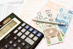 Polish contribution PIT. Calculating taxes in Poland, PLN currency Stock Photography