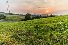 Polish countryside. Polish village in the Bieszczady Mountains in the east of the country Royalty Free Stock Photo