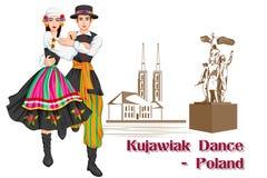 Polish Couple performing Kujawiak dance of Poland Royalty Free Stock Photos