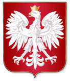 Polish Crest. The polish crest upon a red shield over a white background Stock Photo