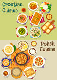 Polish and croatian cuisine icon set, food design. Polish and croatian cuisine icon set with meat and fish vegetable stew, bean sausage and spinach soup, meat Stock Images