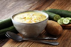 Polish cucumber soup with fresh cucumber and potatoes. stock image