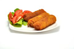 Polish Cuisine. Croquette and tomato. Stock Photos