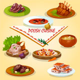Polish cuisine rustic dinner with dessert icon Royalty Free Stock Photo