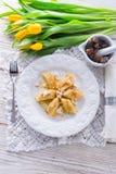 Polish Curd dumplings. With cinnamon butter stock photos