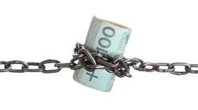 Polish currency with chain for security and investment Royalty Free Stock Photo