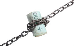 Polish currency money and chain Stock Photo