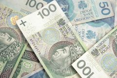 Polish currency, stack of polish banknotes stock photography