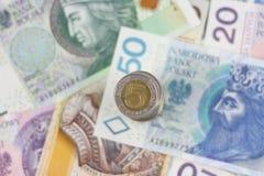 Polish currency zloty background Stock Photo