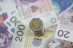 Polish currency zloty background Royalty Free Stock Photos