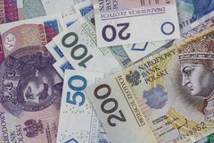 Polish currency zloty background Royalty Free Stock Photography