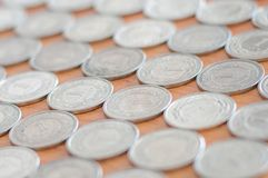 Polish currency 1 zloty coins as background. Royalty Free Stock Image