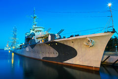 Polish destroyer at the Baltic Sea in Gdynia Stock Images