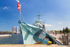 Polish destroyer ship at the Baltic Sea in Gdynia Royalty Free Stock Image
